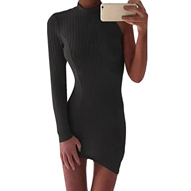 4c8a67d7074 Gjowugen One Shoulder Bodycon Irregular Ribbed Solid Turtle Neck Tight Mini  Women Dress (Color