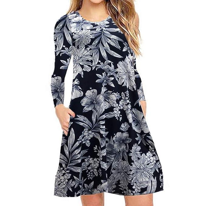 962febdbb4d0 YISHIWEI Women s Sleeveless Loose Casual Swing T-Shirt Dresses with Pockets  (Hshuy