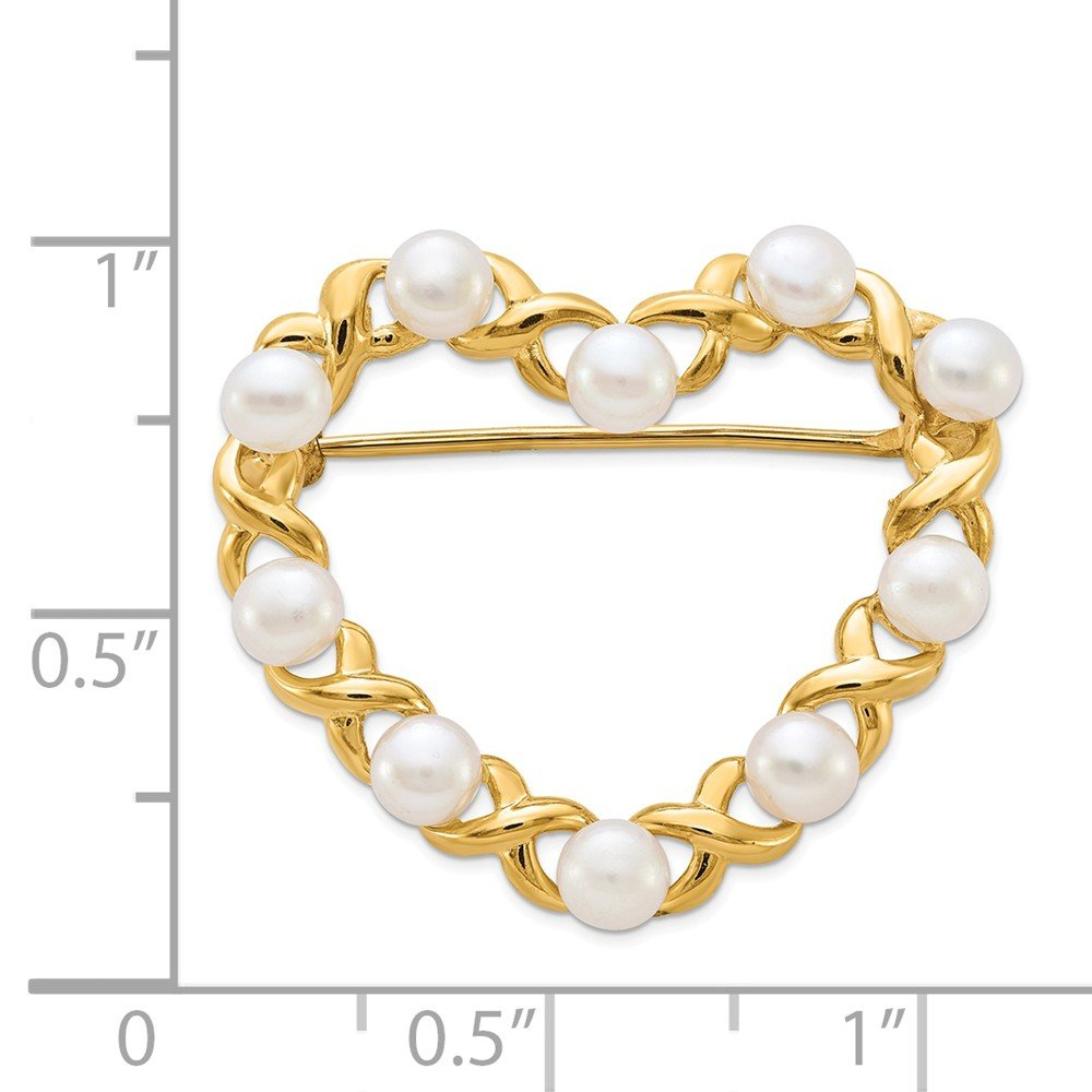 14K Yellow Gold 3-4mm White Button Freshwater Cultured Pearl Pin