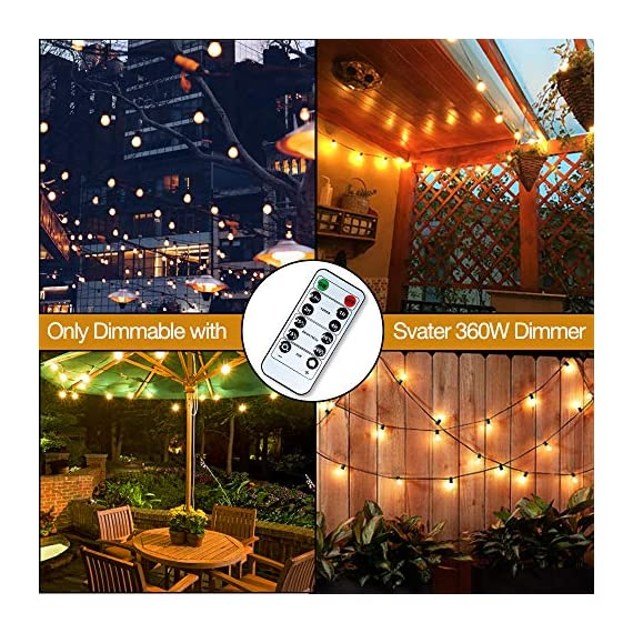 Svater LED Outdoor String Lights,50FT Patio Lights with 46pcs E12 Socket, 50pcs 2700K Warm White G40 Bulbs,Indoor… - POWERFUL BULB STRING LIGHTS : 50ft per strand with 46pcs E12 sockets , 50pcs G40 LED bulbs which is powerful to light up your outdoor space. Multi-STRANDS CONNECTABLE : Svater Globe LED string light are end to end connectable up to 20 strands, feel free to customize your arrangements. Sockets will fit any bulb with compatible E12 base that you have the option of switching up your style. ENERGY SAVING: Svater G40 LED String Light save over 90% energy over incandescent bulbs. Long lifespan last 30,000 hours can reduce maintenance costs on changing bulbs frequently. Weatherproof strong rubber wire and socket can tear of indoor or outdoor use all year. - patio, outdoor-lights, outdoor-decor - 61o471wcQeL. SS570  -
