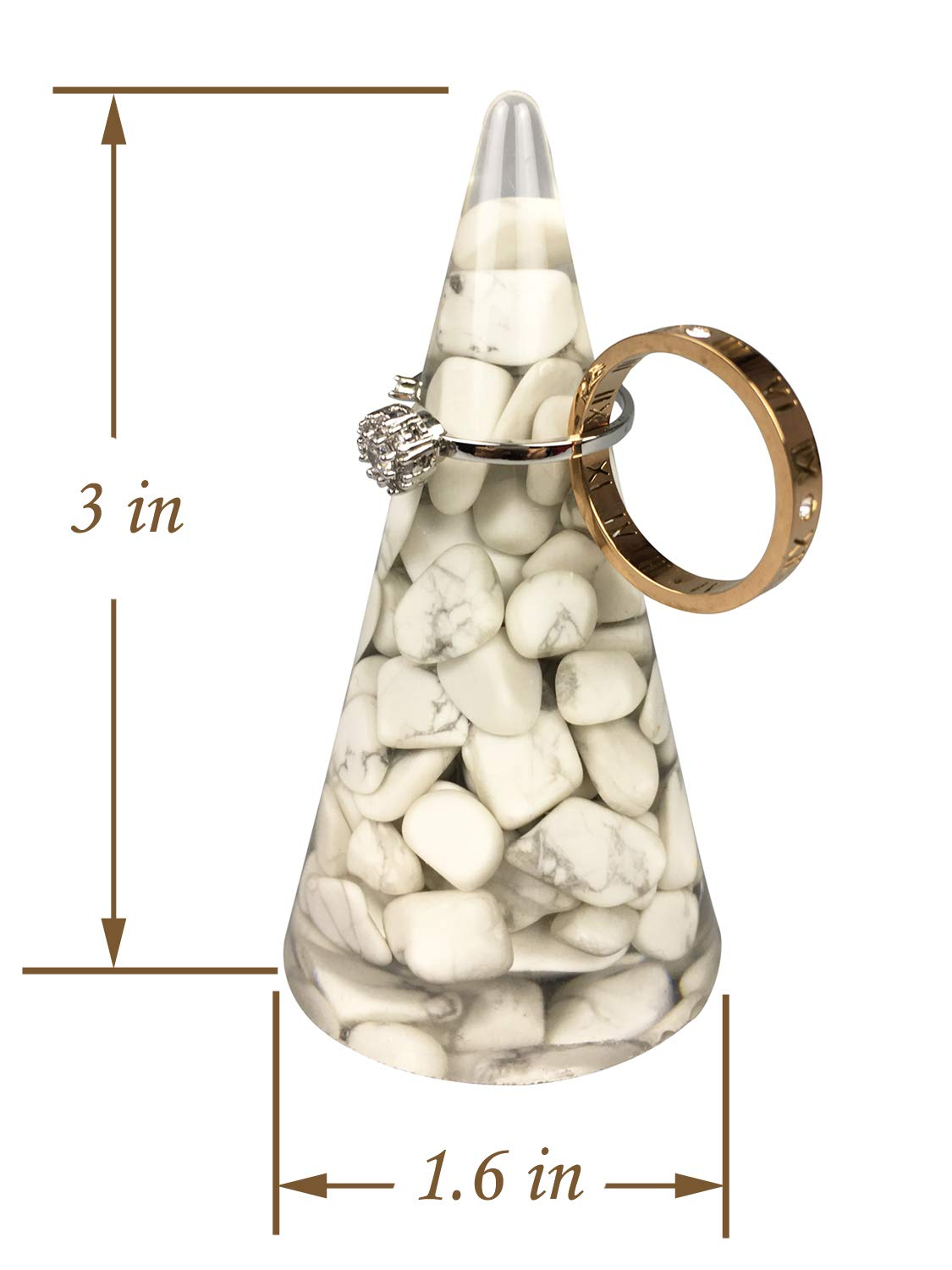 OYAMIHUI Natural Stone Pebbles Ring Holder Jewelry Ring Holder Cone