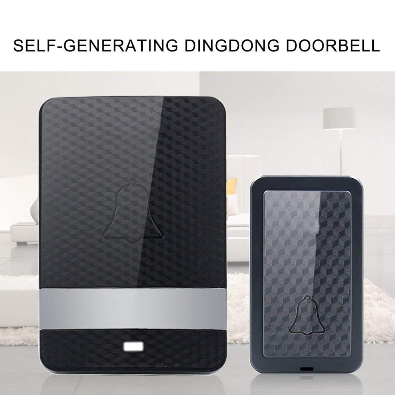 Sonnette /étanche sans fil Dingdong auto-aliment/ée 28 sonneries longue distance sans pile 1 /émetteur 1 r/écepteur noir