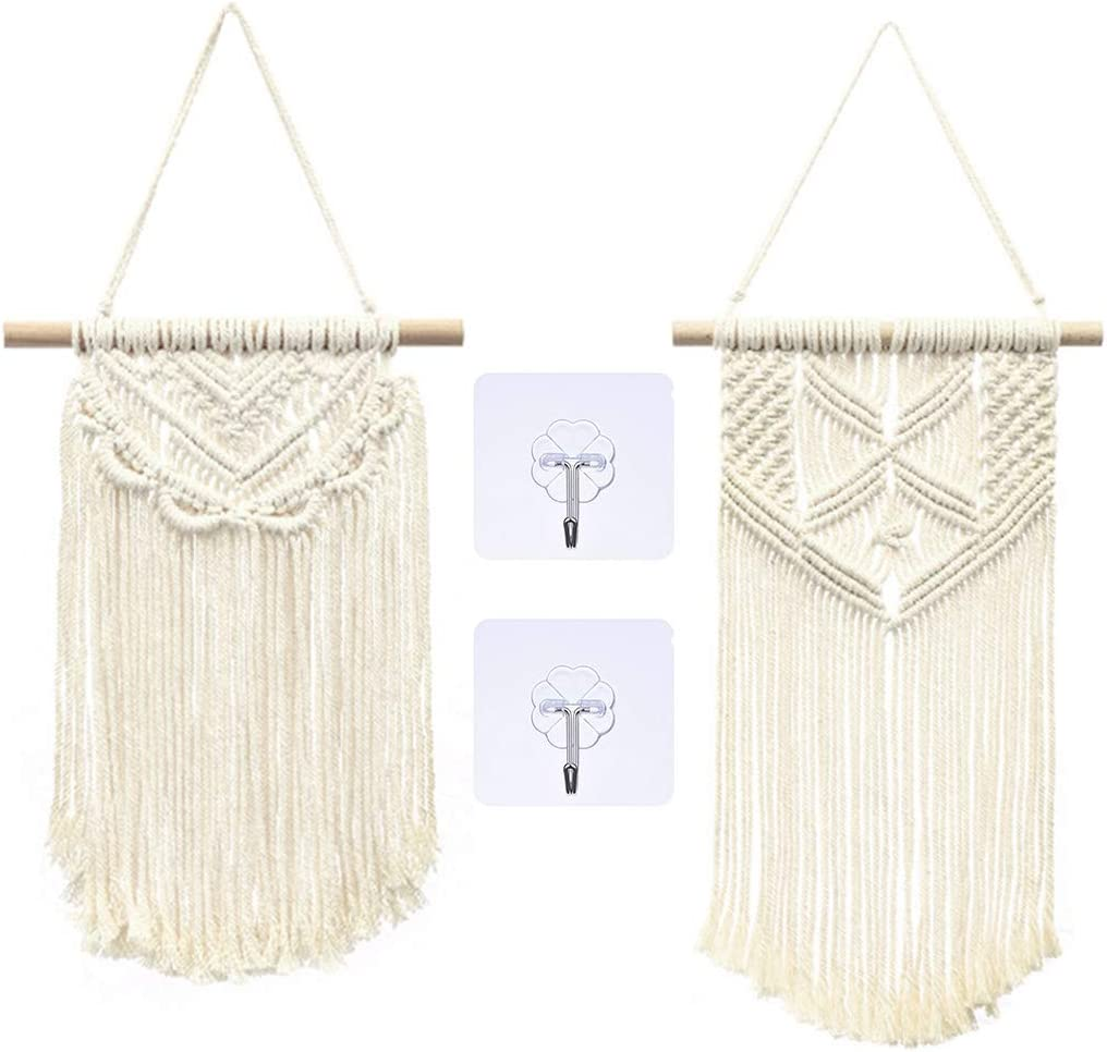 Renhe 2 Pieces Macrame Wall Hanging Woven Tapestry Decoration Bohemian Home Geometric Art Decor for Apartment 2 with Hooks