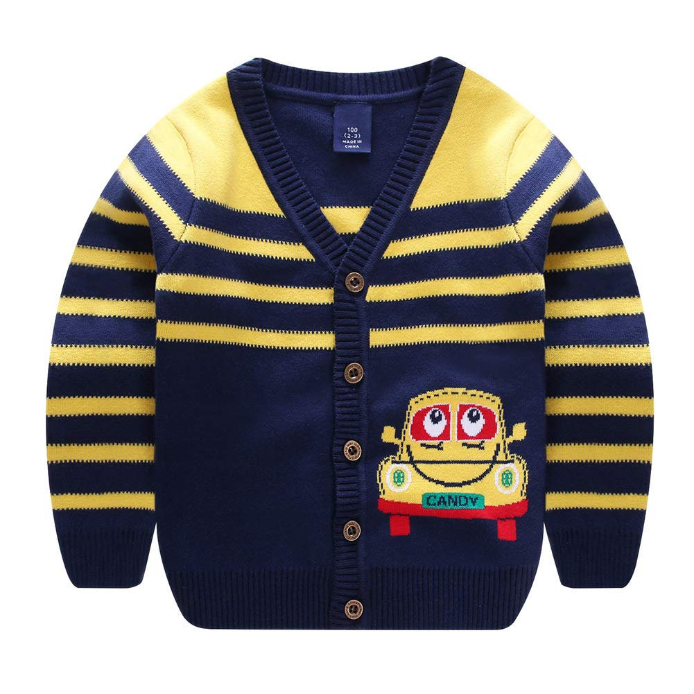 Motteecity Boys Warm School Style Car Embroidered Long Sleeves All Matches Cardigan Yellow 4T