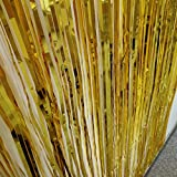 Anhoo 3.2 ft x 9.8 ft Metallic Tinsel Foil Fringe Curtains for Party Photo Backdrop Wedding Event Decoration (Gold,3 pcs)