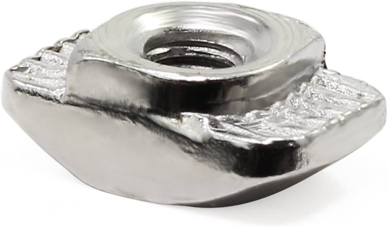 Wimas 50Pack 2020 Series M3 T-Nuts Carbon Steel Nickel-plated Half Round Roll In Sliding T Slot Nut 50PCS 20 Series M3