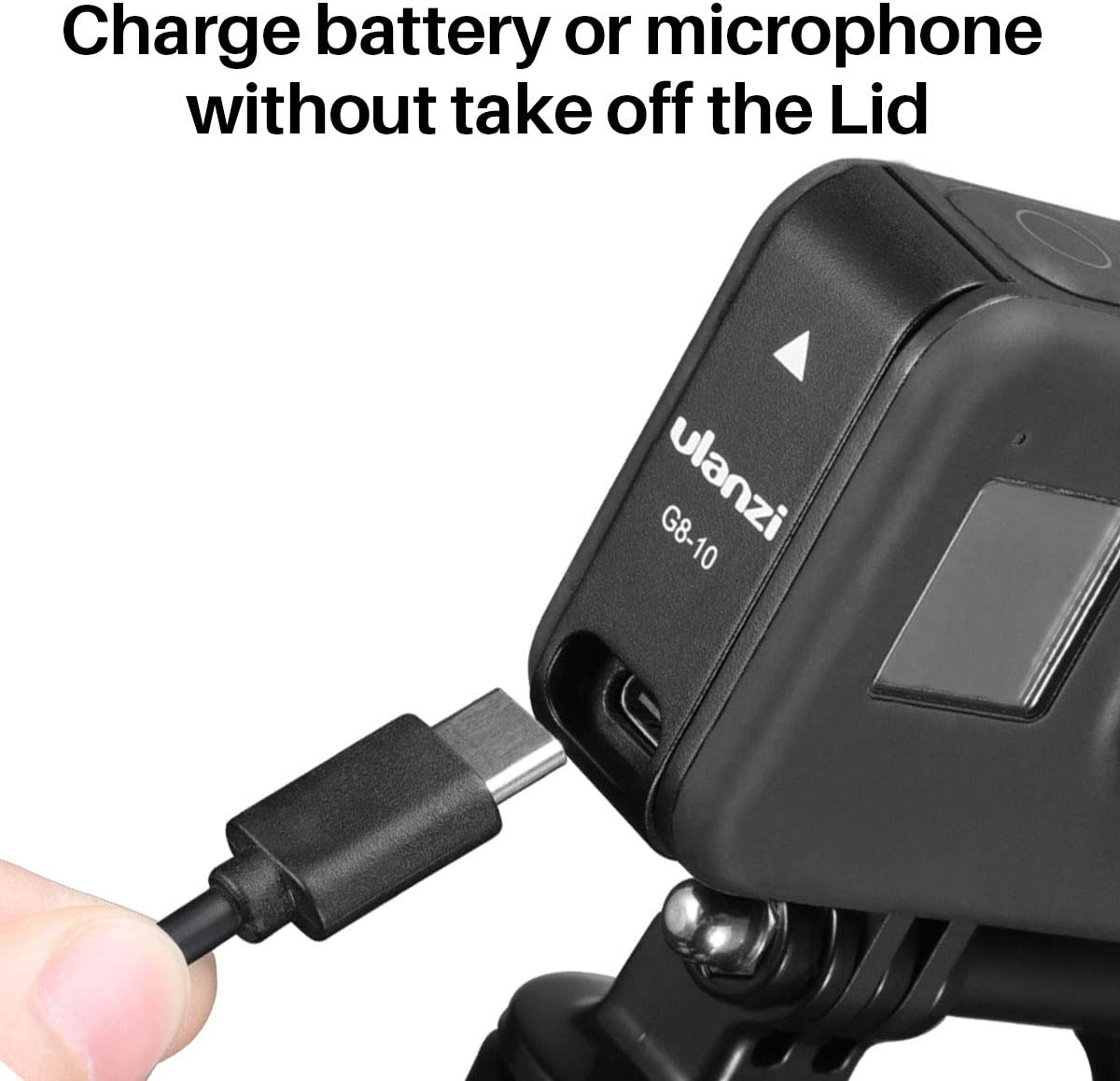 ULANZI Select Battery Cover Protective Cover for Gopro Hero 8 Black,Battery Door Cover Typc-C Charging Port Reserved Vlog Accessory