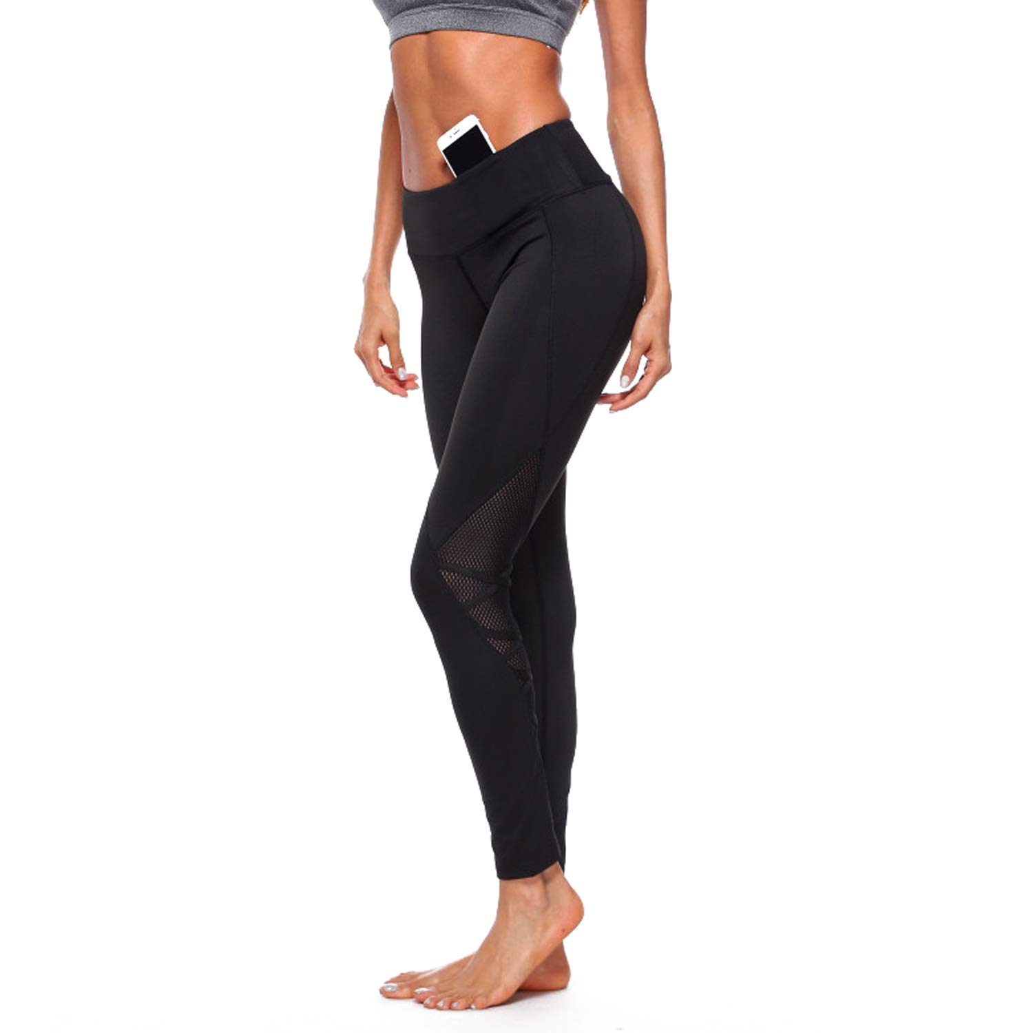 76e3adf219db2 Amazon.com : RIOJOY High Waisted Yoga Pants for Women Athletic Net Leggings  Tummy Control Workout Tights Gym Sports Trousers : Health & Personal Care