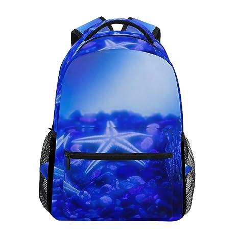 COOSUN Estrellas de mar Azules y Conchas Mochila Casual Escuela Mochila Bolsa de Viaje Estrellas de