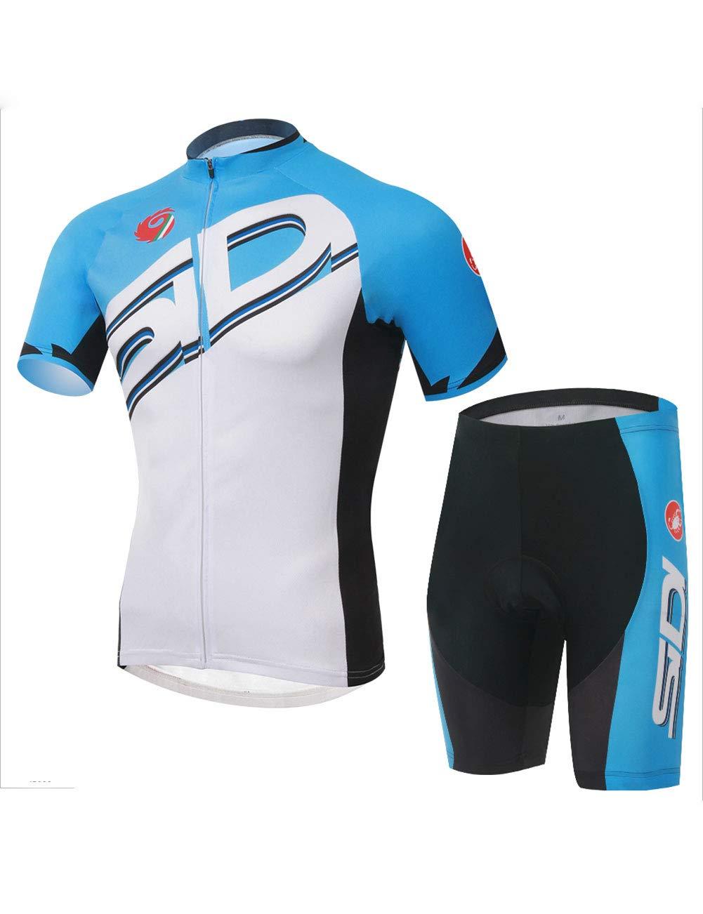Fonly Sommer Männer und Frauen Blau Jersey Kurzarm Anzug Mountainbike Radfahren Shorts Ausgestattet Fahrradkleidung Radfahren Jersey