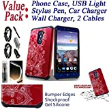 ~Value Pack~ for 6'' ZTE Imperial Max imperialmax DUO 4G LTE Case Phone Case Bumper Shockproof Silicone Edges Hybrid Hard Back Slim Cover (Lotus White Red)
