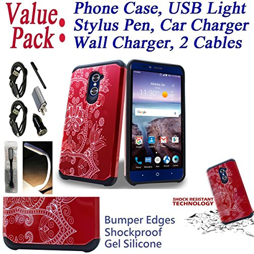 ~Value Pack~ for 6'' ZTE Imperial Max imperialmax DUO 4G LTE Case Phone Case Bumper Shockproof Silicone Edges Hybrid Hard Back Slim Cover (Lotus White Red) by 6goodeals