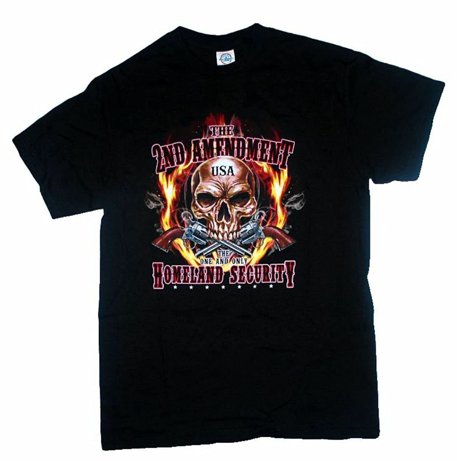 2nd Amendment Homeland Security Skull and Flames T Shirt