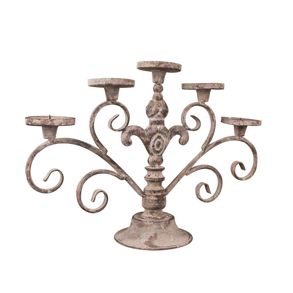 Free Standing Victorian 5 Pillar Metal Candelabra with Distressed Finish Dibor