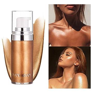 Liquid Highlight Illuminator, SuperThinker Body Highlighter Makeup Smooth Shimmer Glow Liquid Foundation for Face & Body (#3 Bronze Gold)