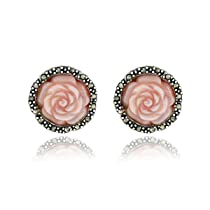 Sterling Silver Marcasite and Carved Pink Shell Rose Post Earrings