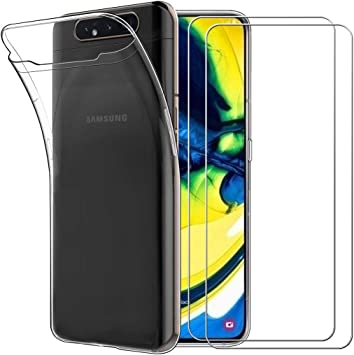 Yoowei Carcasa para Samsung Galaxy A80 Transparente + [2 Pack de ...