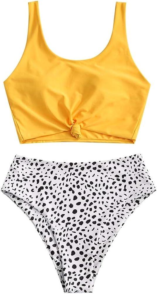 Top Annodato con Spallacci e Costume da Bagno Tropicale con Foglie ZAFUL Set da Due Pezzi da Spiaggia