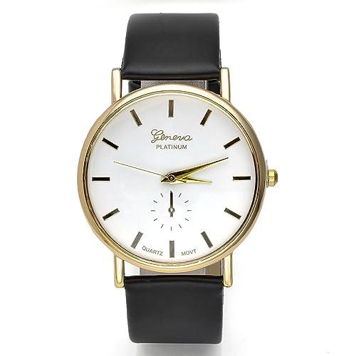 JSDDE Uhren,Eelgant Genf Damen Herren Armbanduhr Lederarmband Damenuhr Vogue Gold Analog Qaurzuhr(Sc...