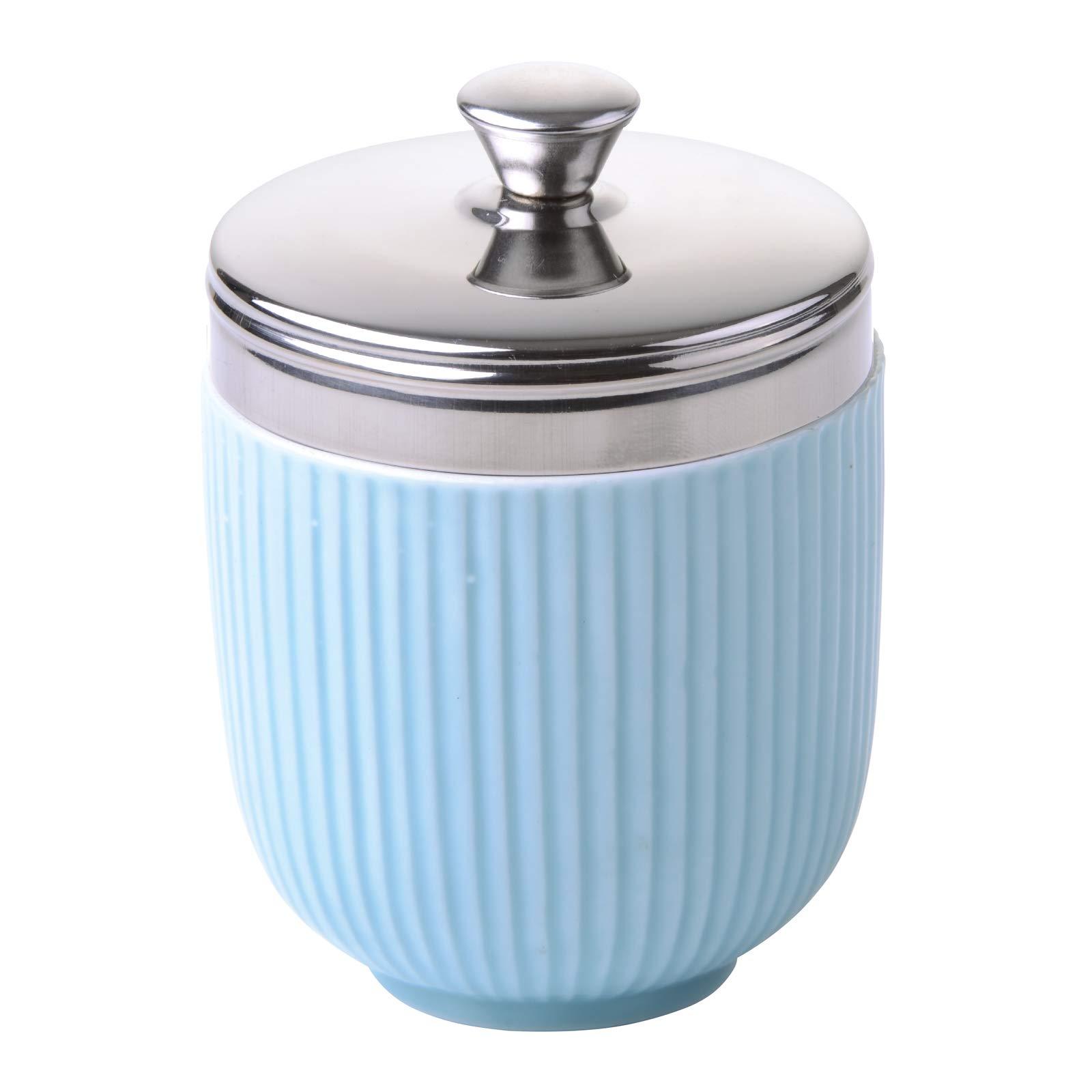 BIA Egg Coddler, Porcelain, Blue Fluted, Single
