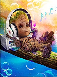 DIY 5D Diamond Painting Kits for Kids & Adults,Hero Baby Groot Listening to Music Full Drill Crystal Embroidery Painting Diamond Art Kit for Relaxation and Home Wall Decor 11.8