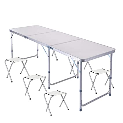 Sunreal 1,8 m Table Pliante en Aluminium Table de Camping ...