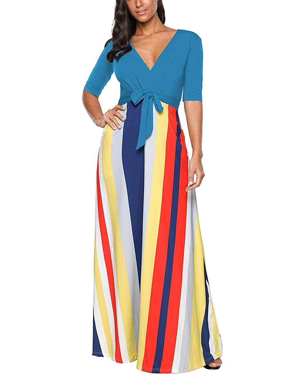 SELUXU Damen Sommerkleid Mode Herbst Vintage Print Kleid High Waist Gestreiftes Langes Abend V-Ausschnitt Halbe Hülse Strand Maxikleid S-XXL