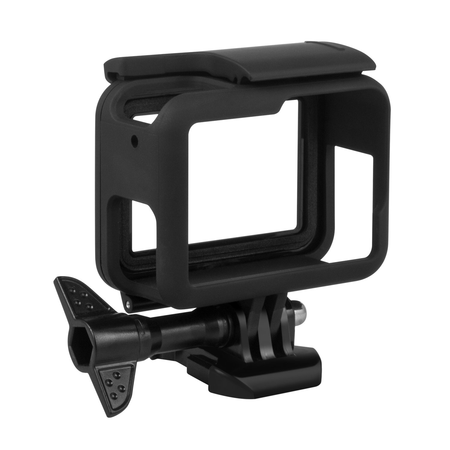 Kupton Frame for GoPro Hero HD (2018) / 6/5 Housing Border Protective Shell Case Accessories for Go Pro Hero6 Hero5 Black with Quick Pull Movable Socket and Screw (Black)