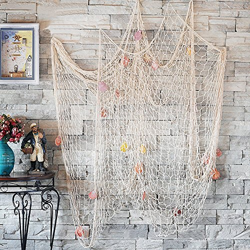 CoZroom Fish Net Wall Decoration Pack with Seashells for Party Home Living Room Bedroom Mediterranean Style Medium Size 4ft 11 X 6ft6 by CoZroom