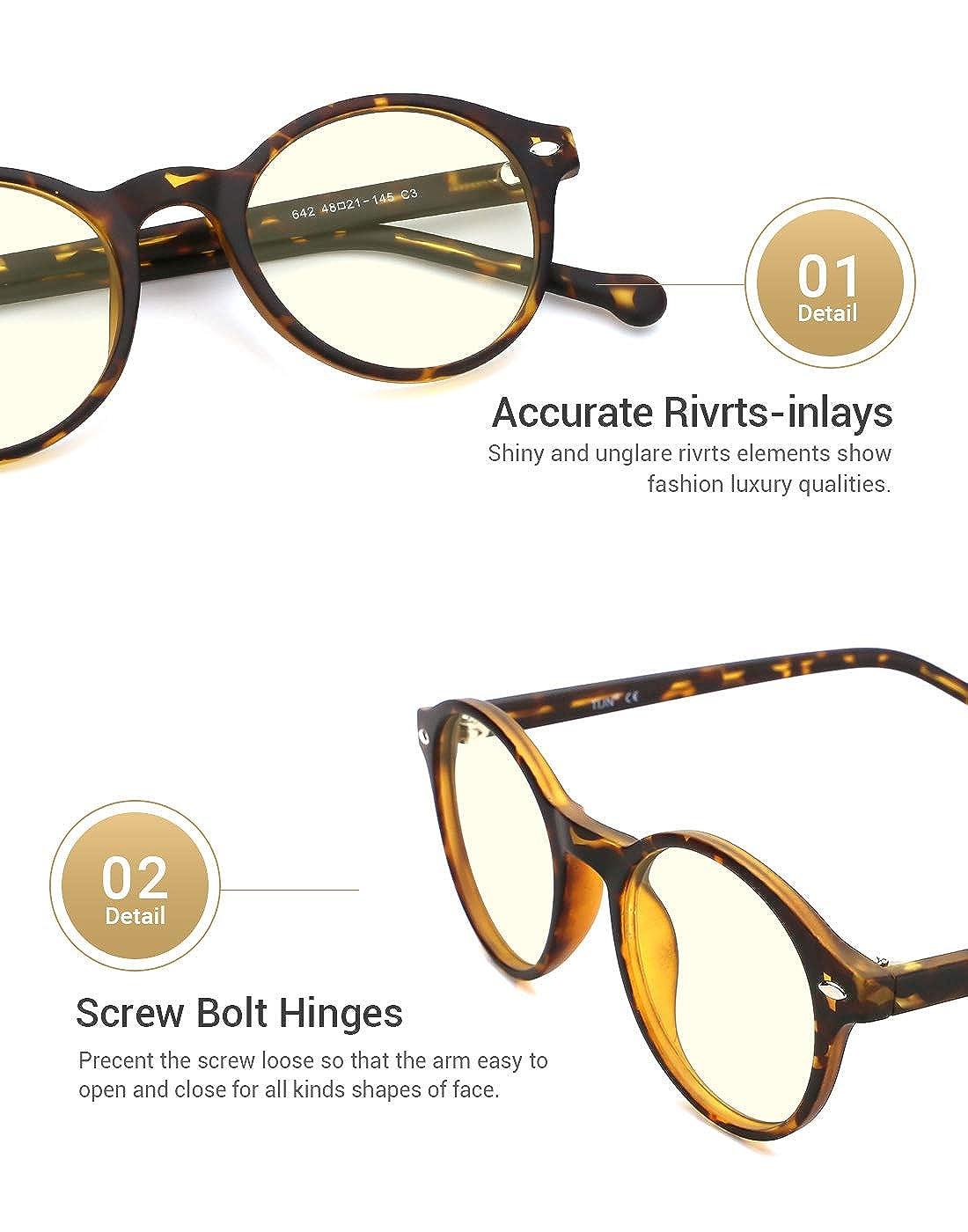 TIJN Occhiali Luce Blu Bloccanti Occhiali da vista Occhiali rotondi montatura anti luce blu per donne e uomini