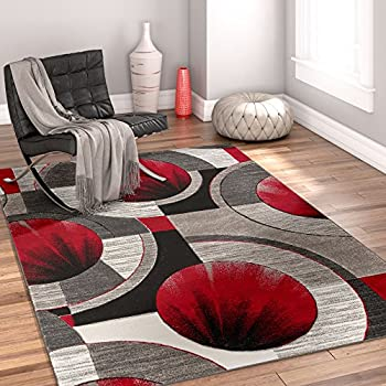 0327 red black swirl white area rug carpet 5x7 modern abstract kitchen dining. Black Bedroom Furniture Sets. Home Design Ideas
