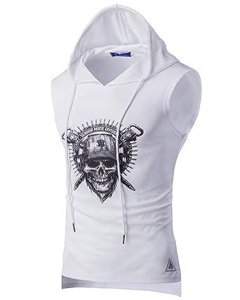3b3114805a38f Débardeur Capuche Homme Sport Sans Manches T Shirt Haut Gilet Blanc S
