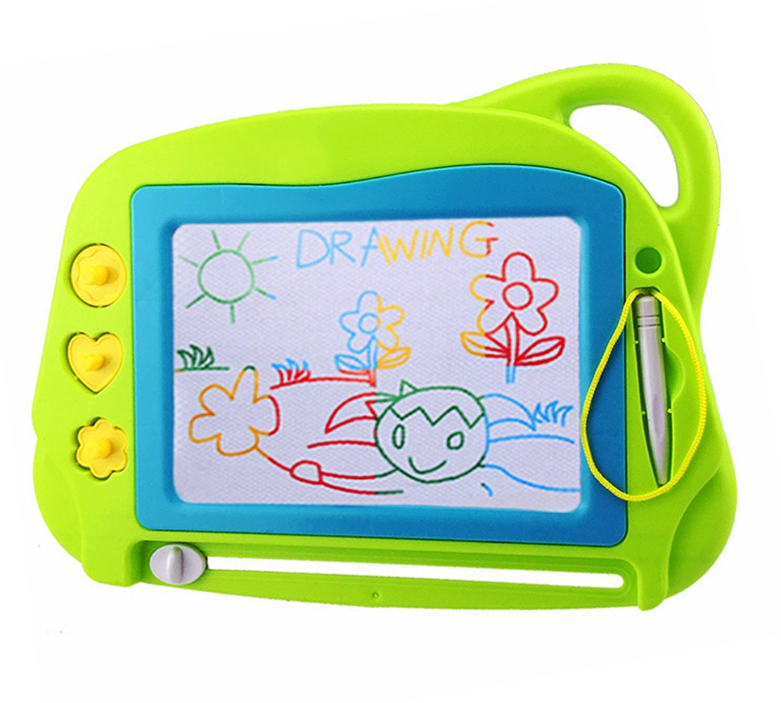 Magnetic Drawing Board Mini Travel Doodle, Erasable Writing Sketch Colorful Pad Area Educational Learning Toy for Kid / Toddlers/ Babies with 3 Stamps and 1 Pen (Green) by Aituitui