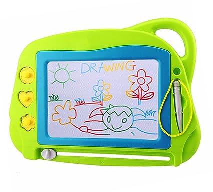 Pizarra magnética Colorido con 1 Pluma y 3 Sellos, Almohadilla borrable de Escritura y Dibujo para niños 3+ años, Portátil Juguetes educativos-Tamaño ...