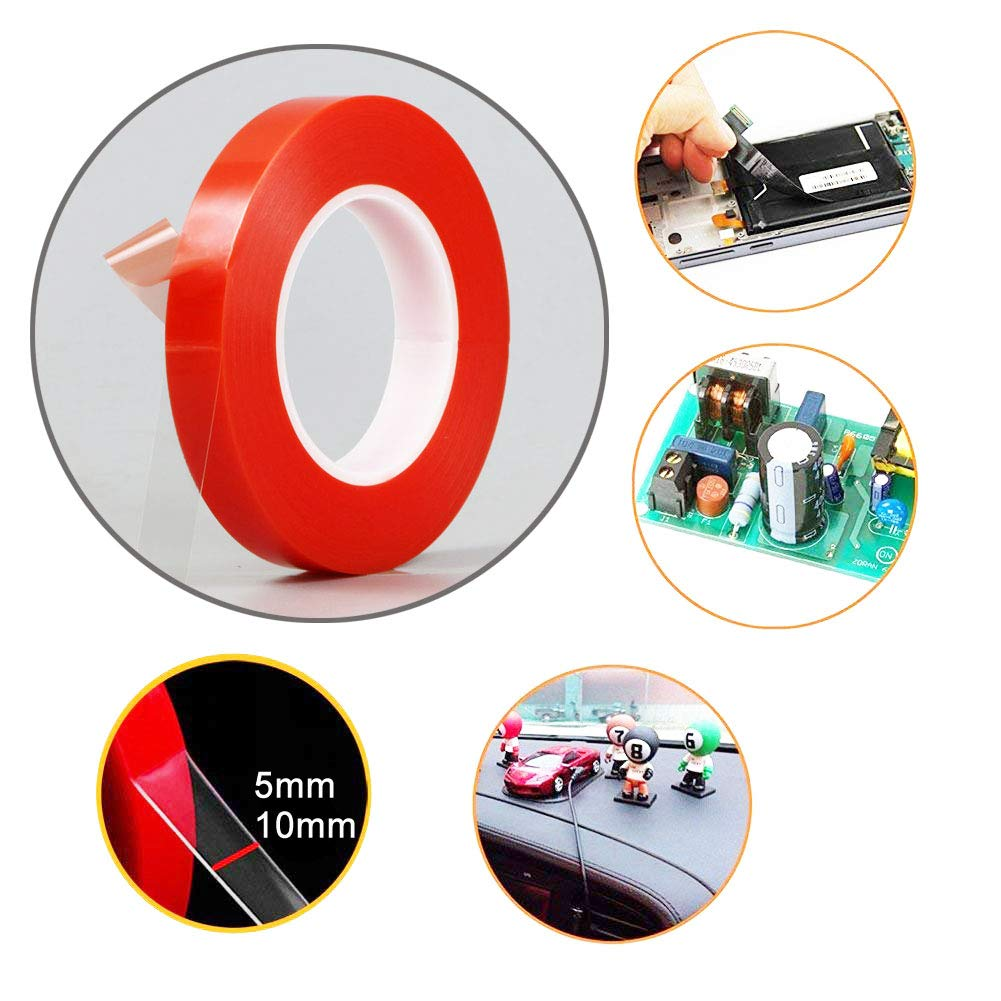 5mm +10mm, 2 Rolls LLP Double Sided Tape Strong Transparent Adhesive PET LLP International Group LCD Screen Repair Sticker of Phone /& Electronics x 164ft Heat Resistant for Phone Repair