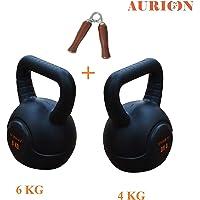 Aurion Imported-Kettle 4KG+6KG+Woden-HANDGRIPX1 Vinyl Kettlebell with Hand Grip (Combo of 3) (Multicolour)