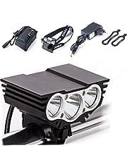Lámpara de la Bici del búho, LED Frontal para Manillar de Bicicleta + Paquete + Cargador de la batería, luz Ligera Que acampa 7500 Lumen 3 LED