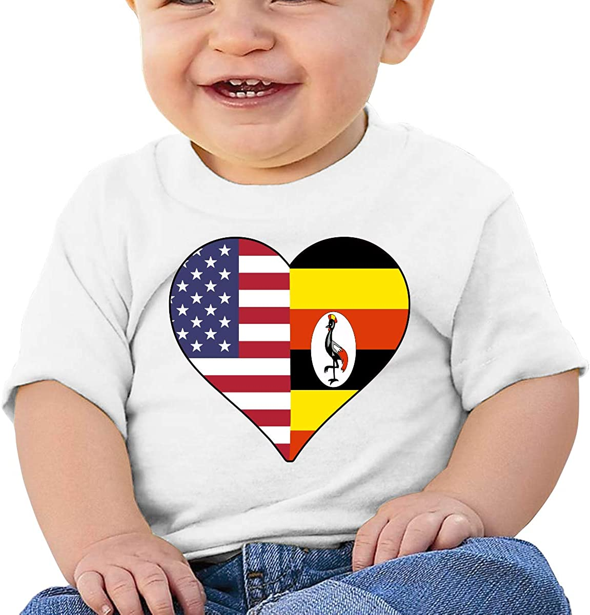 Half Uganda Flag Half USA Flag Love Heart Newborn Baby Short Sleeve Crewneck T Shirts