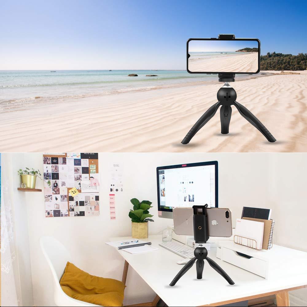 Uso de Tr/ípode de Mini Tel/éfono M/óvil Port/átil para C/ámara//Proyector//Gopro//C/ámara Web//Dispositivo de Fotograf/ía Estable de Rotaci/ón Ajustable de 360/° para Vlogging//Transmisi/ón en Vivo//Selfi