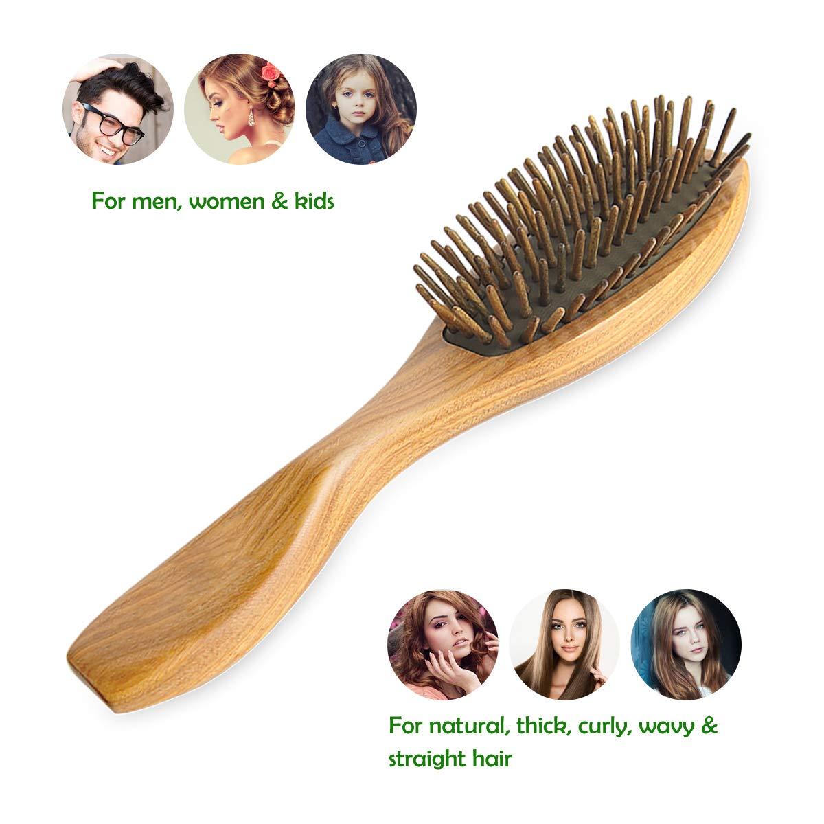 Holz Borste Organischen Haarb/ürsten Abgefedert Entwirren Massage Kopfhaut Keine Statische Haarkamm pureGLO Nat/ürliche Gr/üne Sandelholz Haarb/ürste