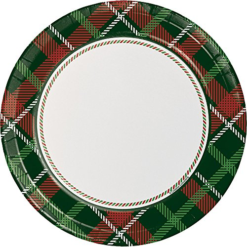 Creative Converting 8-Count Sturdy Style Dinner/Large Paper Plates, Tartan Tidings