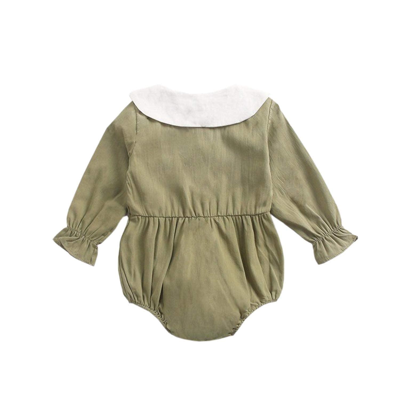 KUKEONON Newborn Baby Girls Long Sleeve Romper Button-Down Solid Ruffled Jumpsuit