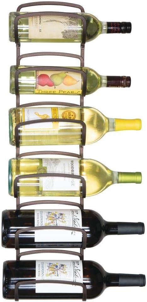 Wall Mount mDesign Modern Decorative Metal Wine Bottle Storage Organizer Rack Holder for Kitchen Wine Cellar- 6 Level Design Bar Dining Room Graphite Gray Pantry