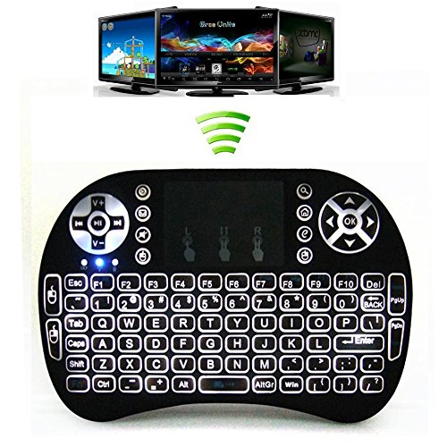 Greatever i8 Airfly Mouse Multi-media Portable Handheld Blacklight Mini Wireless 2.4G LED Backlight i8 Keyboard with Touchpad for Google Android TV Box,HTPC,IPTV,PC,Mac,Pad,XBox 360,PS3