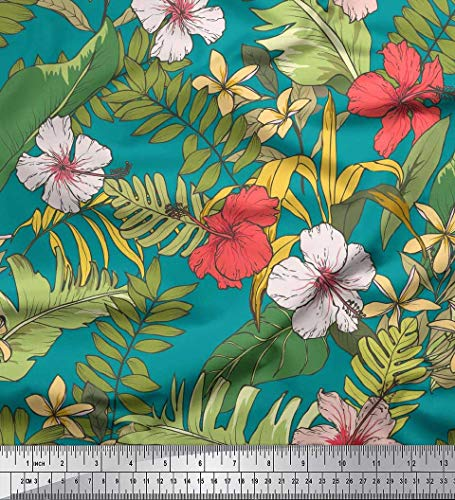(Soimoi Green Heavy Canvas Fabric Tropical Leaves & Floral Print Fabric by The Yard 58 Inch Wide)