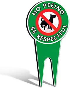 Signs Authority no pee dog signs, stop dogs from peeing on your lawn, sign politely reads please be respectful, protect your property