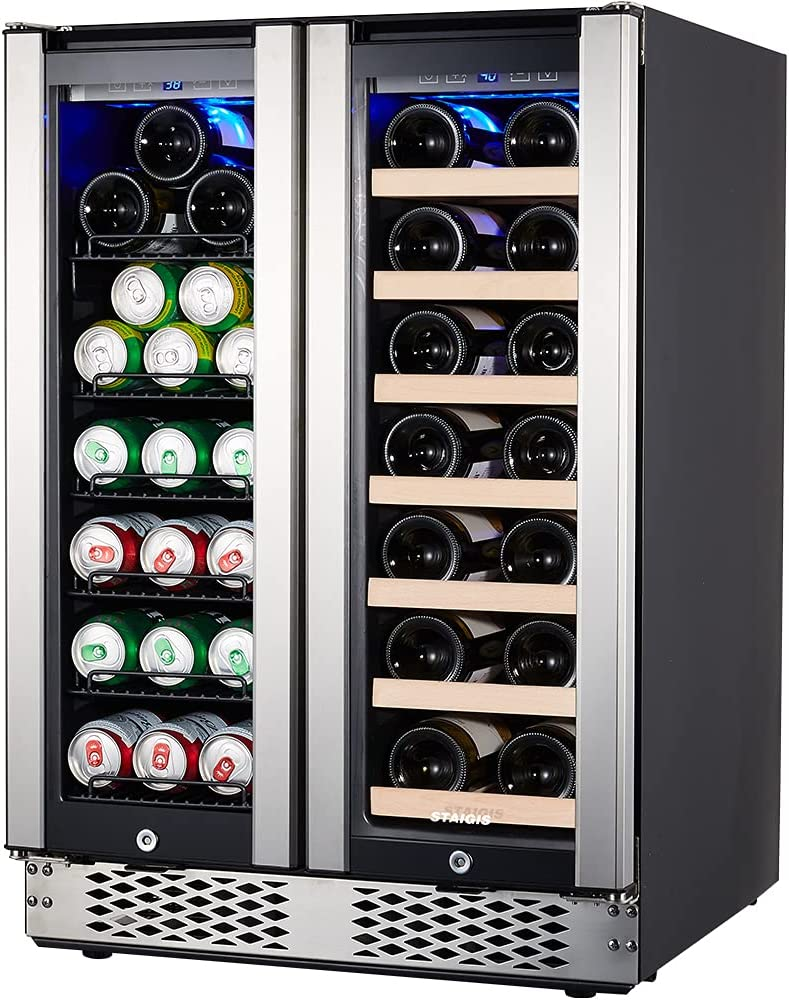 Under Counter Beverage and Wine Cooler, STAIGIS 24 Inch Wine Refrigerator Dual Zone for 60 Cans and 20 Bottles - Mini Wine Fridge with Stainless Steel Frame Glass Door for Built in and Freestanding