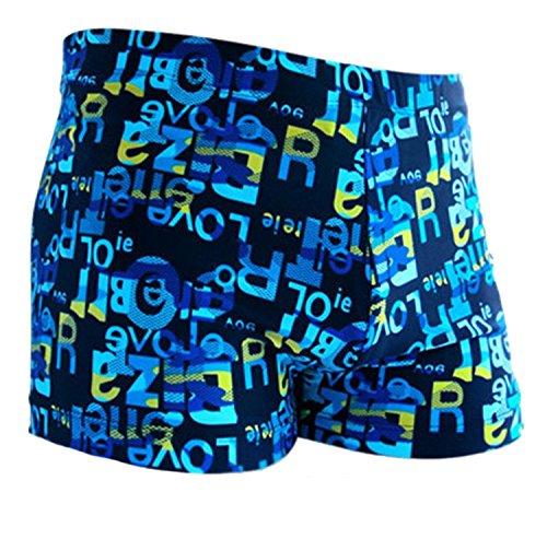 Da.Wa Badehose Herren Schwimmhose Blaue Fluoreszenz Buchstaben Swimming Shorts Badeshorts Kurz,Übergrößen XXL