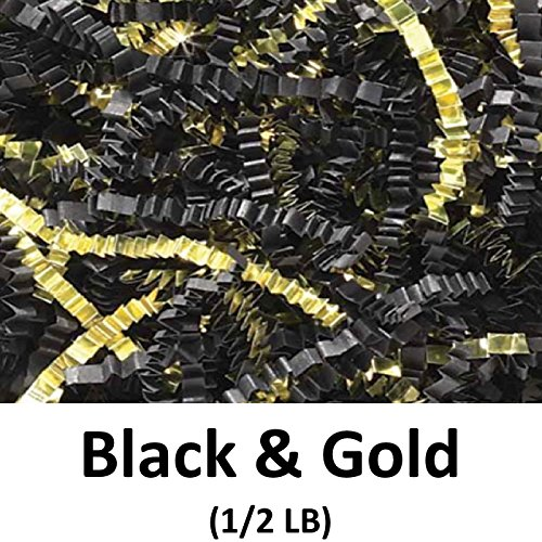 Crinkle Cut Paper Shred Filler (1/2 LB) for Gift Wrapping & Basket Filling - Black & Gold | MagicWater Supply