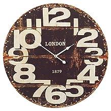 "Easygift Products Large Wood Vintage Wall Clock Round 24"" Big Display (Black)"